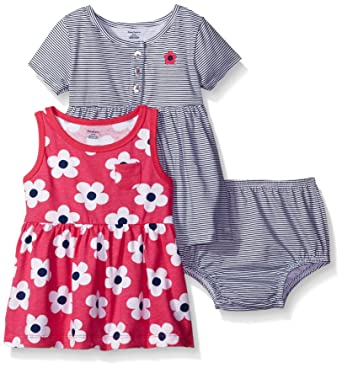 baby stores near me Gerber Baby Three-Piece Dress and Diaper Cover Set, Big Flowers/Exclusive, 24 Months