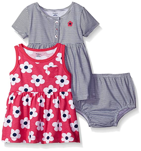 099113f0b8b77 Amazon.com: Gerber Baby Three-Piece Dress and Diaper Cover Set, Big Flowers/Exclusive,  6-9 Months: Clothing