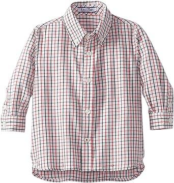 Kitestrings Hartstrings White Black Red Plaid Baby Boy Long Sleeve Shirt Button