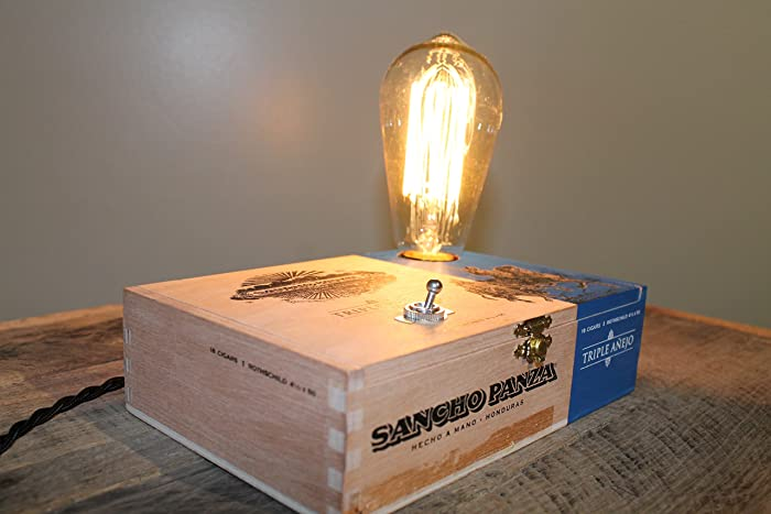 Awesome Handmade Sancho Panza Wooden Cigar Box Lamp With Edison Style Bulb