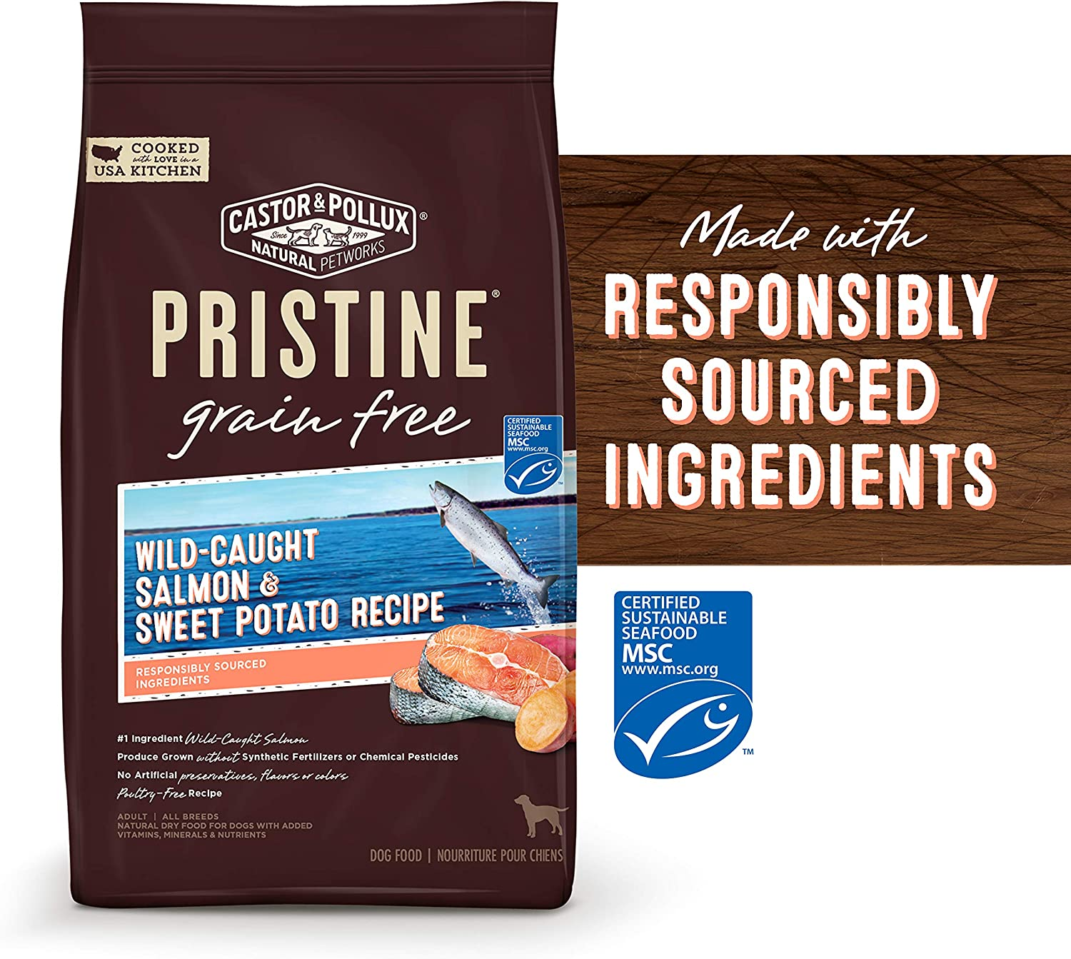 Castor Pollux Pristine Wild-Caught, Free-Range or Grass-Fed Protein Dry Dog Food