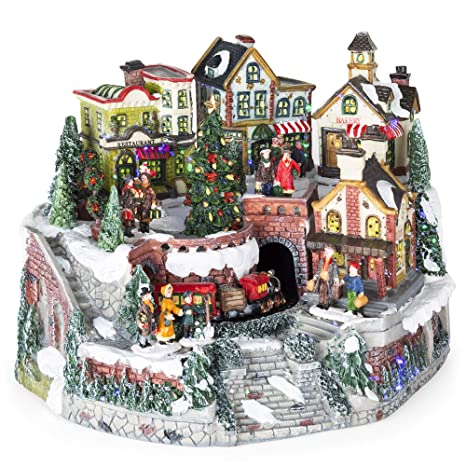 Pre Lit Rotating Christmas Tree.Best Choice Products 12in Pre Lit Hand Painted Tabletop Christmas Village Set W Rotating Train Fiber Optic Lights