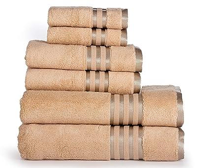amazon com casa lino premium 6 piece towel set 2 bath towels 2