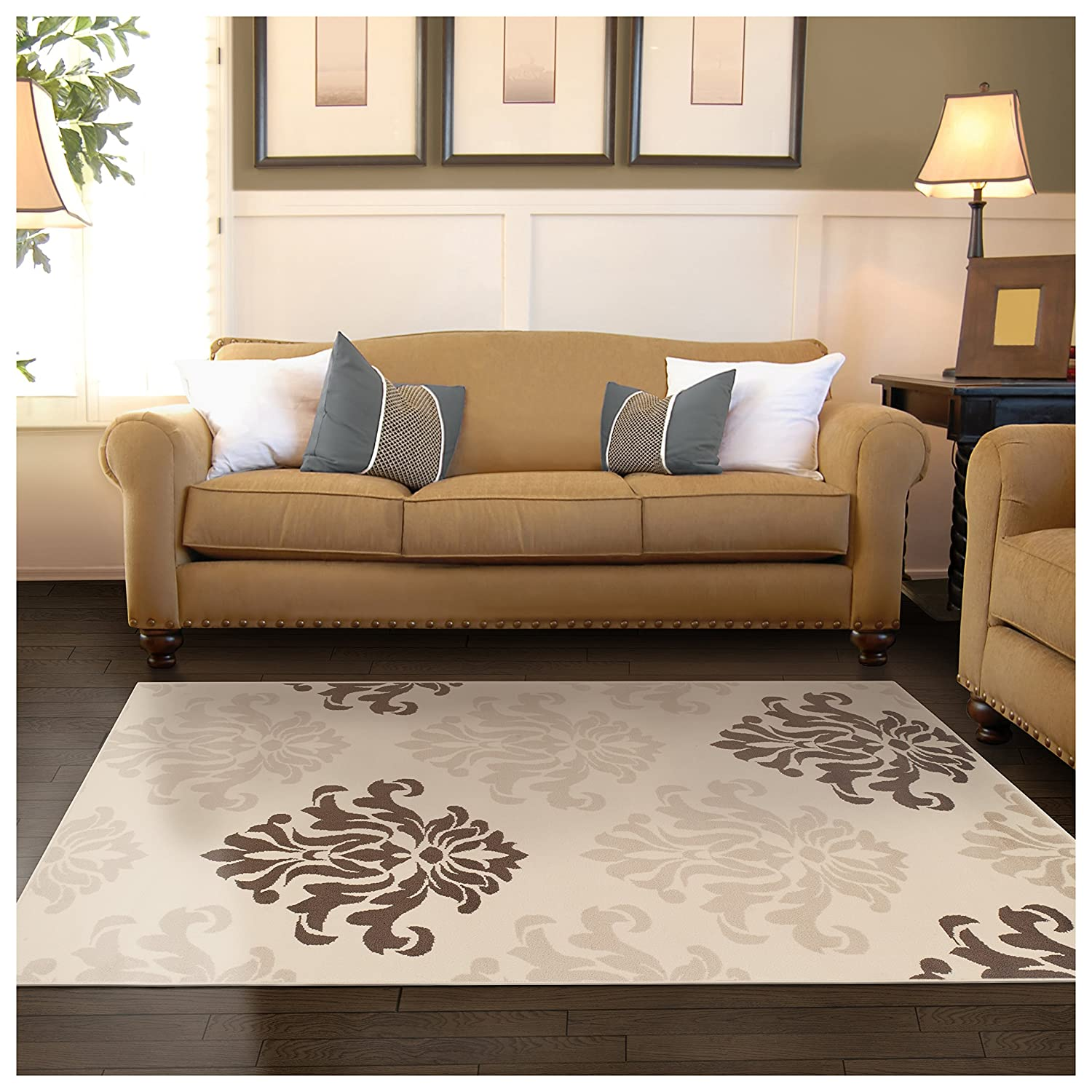 Chic Tonal Damask Pattern Water-Repellent Rugs 8mm Pile Height with Jute Backing Anti-Static Cream Superior Designer Casper Collection Area Rug 2 x 3 Rug
