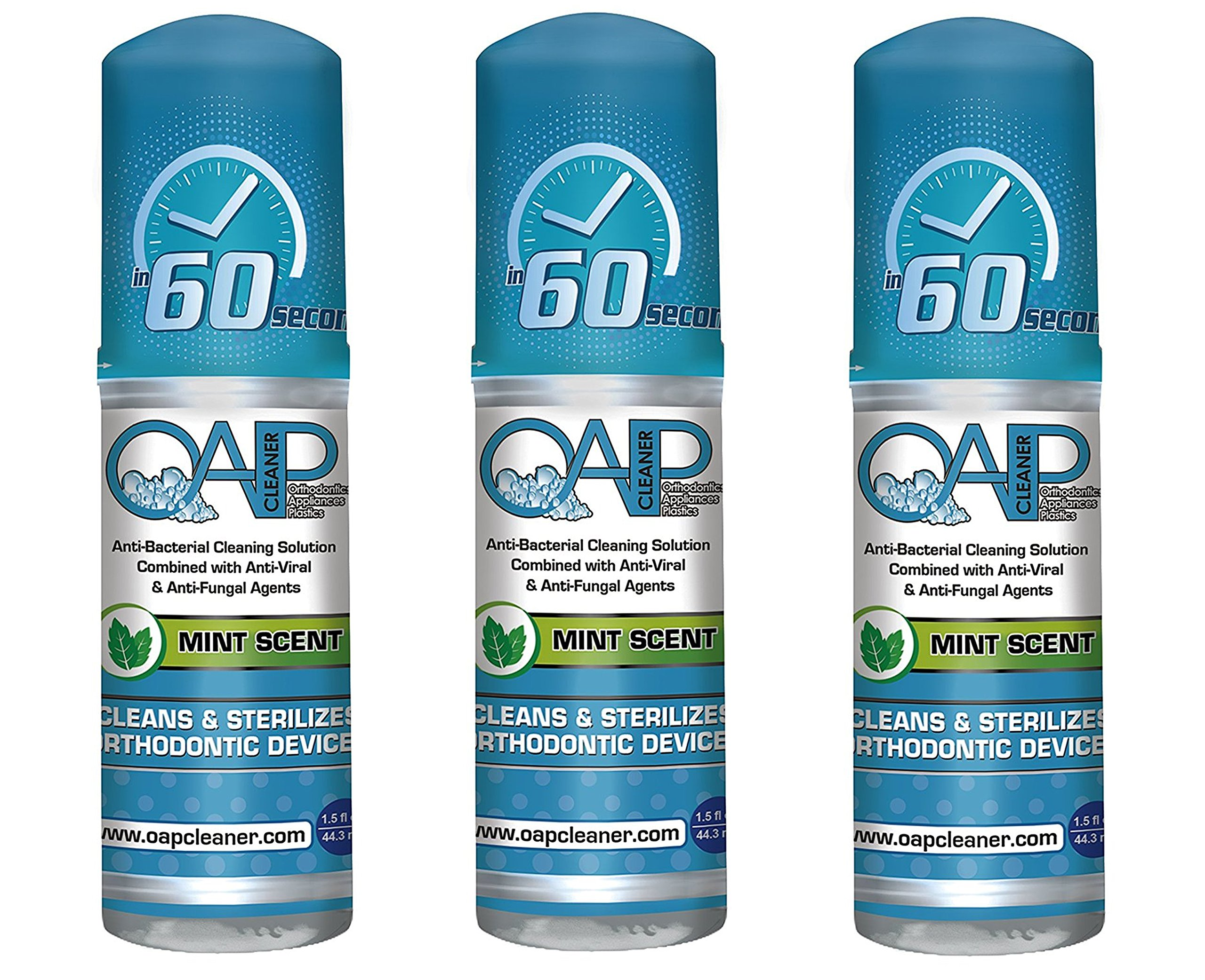 OAP Cleaner -Cleaner for Removeable Dental and Ortho Appliances - Foam, Mint Scent - 44.3ml (3 Bottles) by OAP