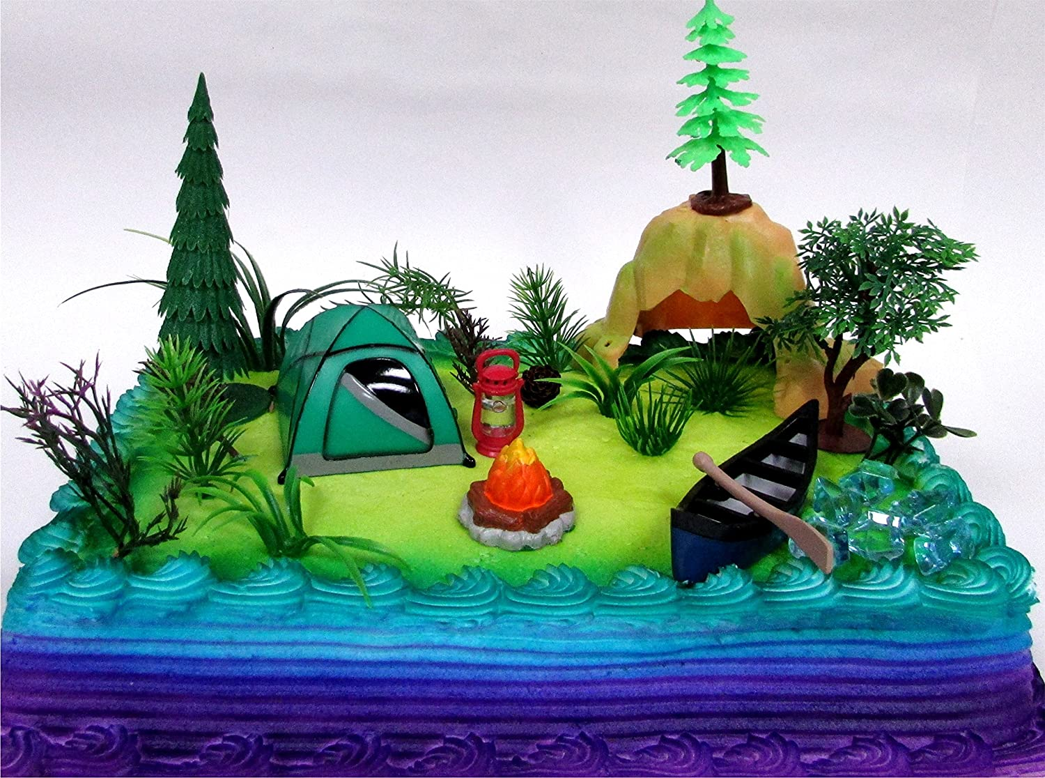 Nature Scene CAMPING 20 Piece Birthday CAKE Topper Set Featuring Camping Items and Decorative Themed Accessories