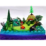 Nature Scene CAMPING 20 Piece Birthday CAKE Topper Set Featuring Camping Items And Decorative Themed