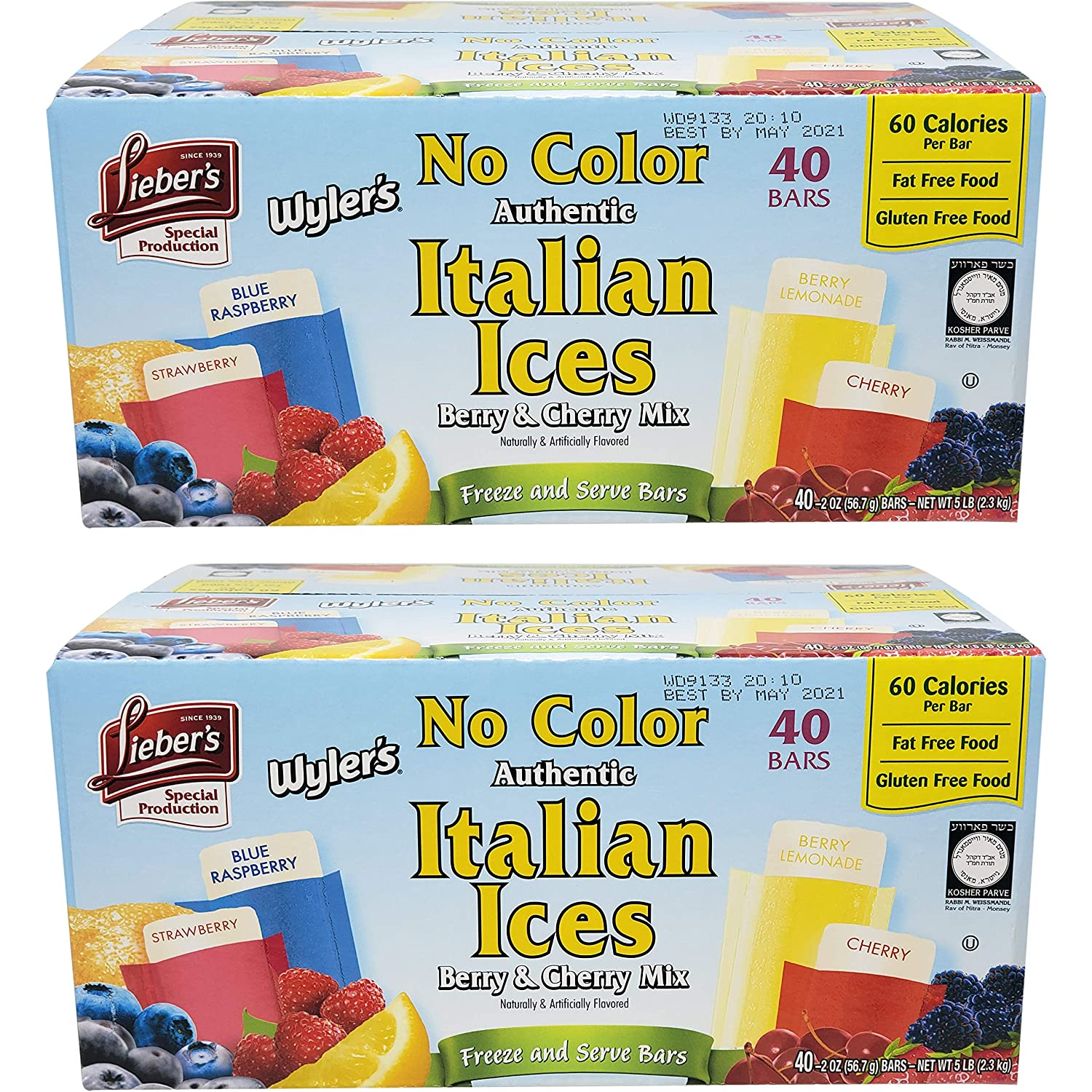 Lieber's Wyler's Italian Ices Berry & Cherry Mix, No Food Coloring, Kosher, Gluten-Free, Fat-Free Italian Ices, 80 Ounce Box (2-Pack)