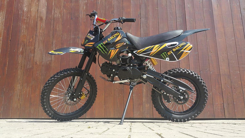 RV-RACING GT607S - Motocicleta todoterreno de 125 cm³, pit bike, Enduro, Cross, motor de 4 tiempos y 4 velocidades, calidad superior, color negro: ...