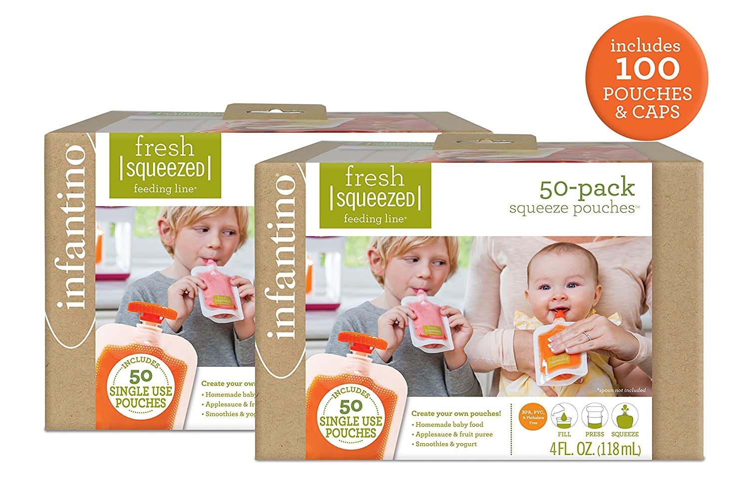 Infantino Squeeze Station Pouches with covers and Spoons Feeding Kit