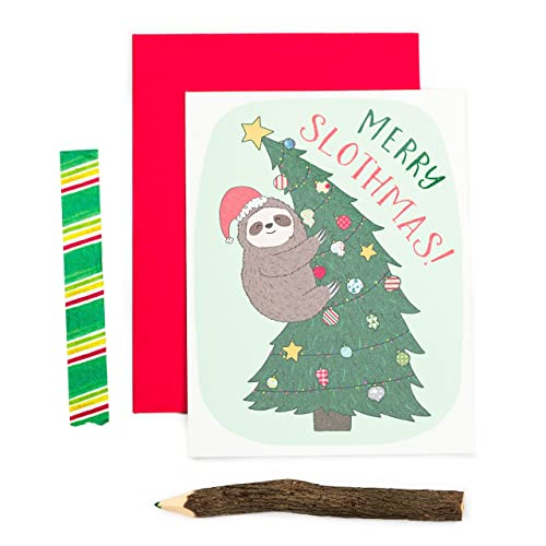 merry slothmas funny christmas card christmas pun card holiday card sloth christmas - Amazon Christmas Cards