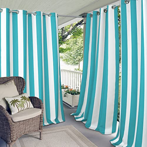 Elrene Home Fashions Aiden Indoor/Outdoor UV Protectant Cabana Stripe Grommet Top Window Curtain Panel