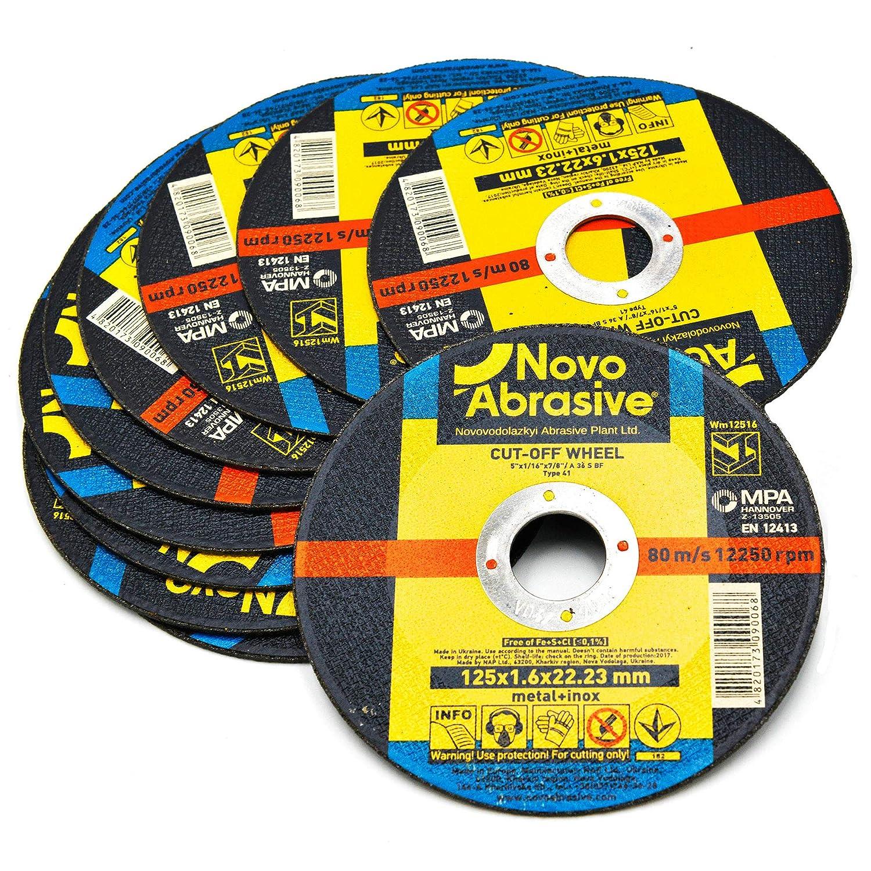 50 Pezzi NOVOABRASIVE dischi da taglio flessibile in acciaio inox 115 x 1,0 mm disco abrasivi per smerigliatrice angolare per metallo