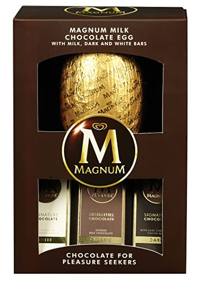 Walls Magnum Milk Chocolate con huevo de Pascua y leche, barra de chocolate blanco y