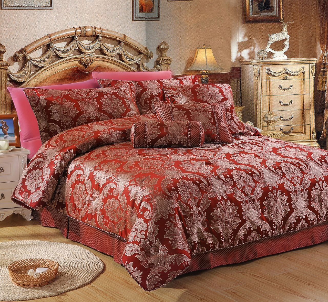 Carrington Burgundy - Complete Luxury Jacquard Woven Bedroom Sets 9 / 10 Piece (Single 9 Piece Complete Bedroom Set) Cocoon