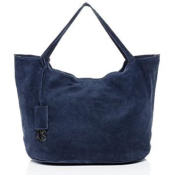 ec2daf93f475e BACCINI Handtasche mit Langen Henkeln echt Wildleder Selma groß  Henkeltasche Schultertasche Ledertasche Damen blau
