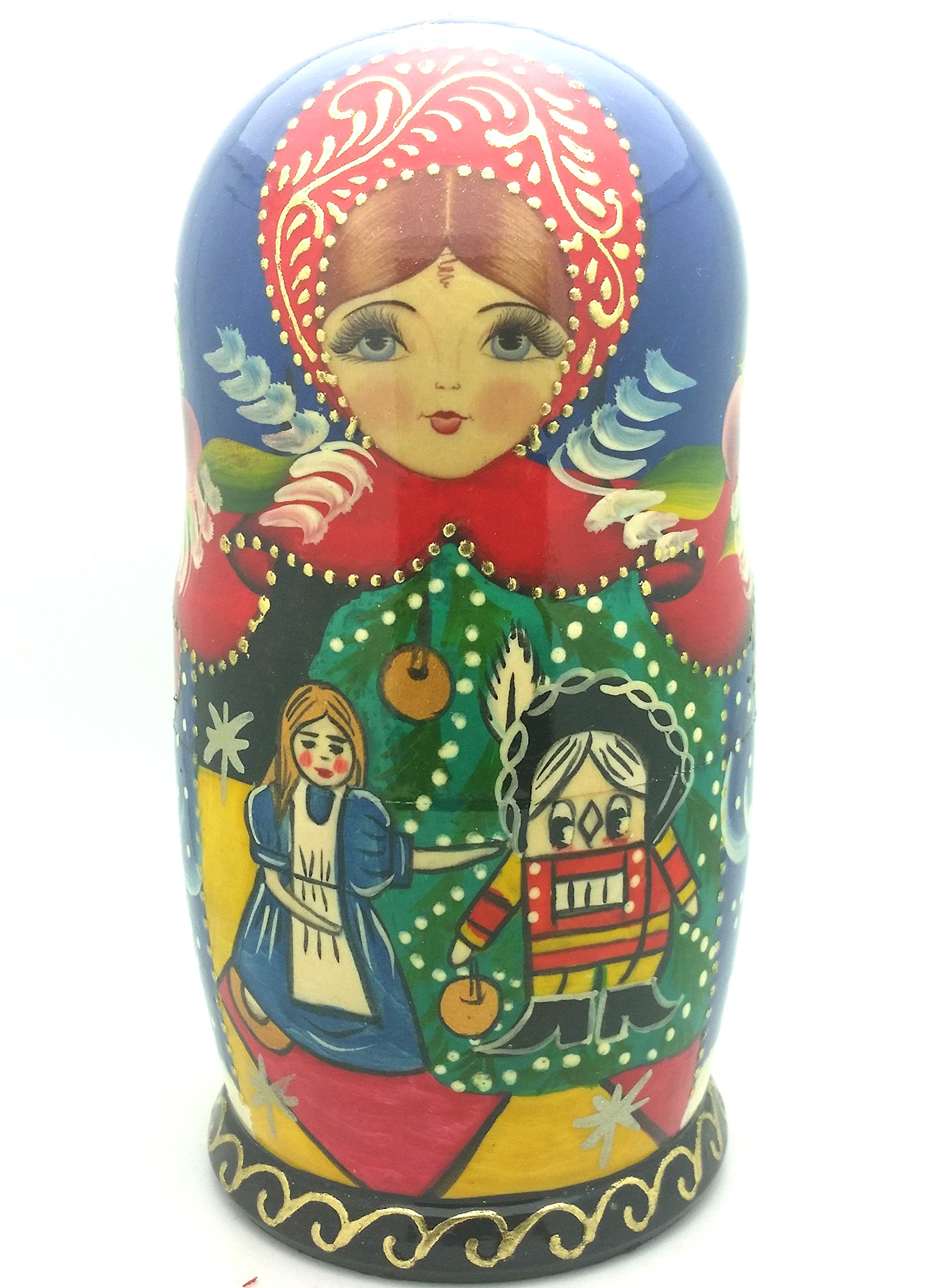 Nutcracker fairy tale Russian Hand Carved Hand Painted Nesting 5 piece DOLL Set 7'' tall / ballet by BuyRussianGifts (Image #4)