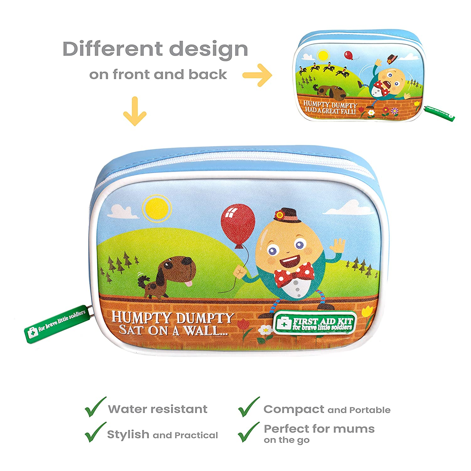 Yellodoor Baby First Aid, 68 Piece Kit of Essential Medical Supplies for Kids, Girls, Boys, Family, Home, Car and Travel, Includes Humpty Dumpty Finger Puppet Distractor and Reward Stickers