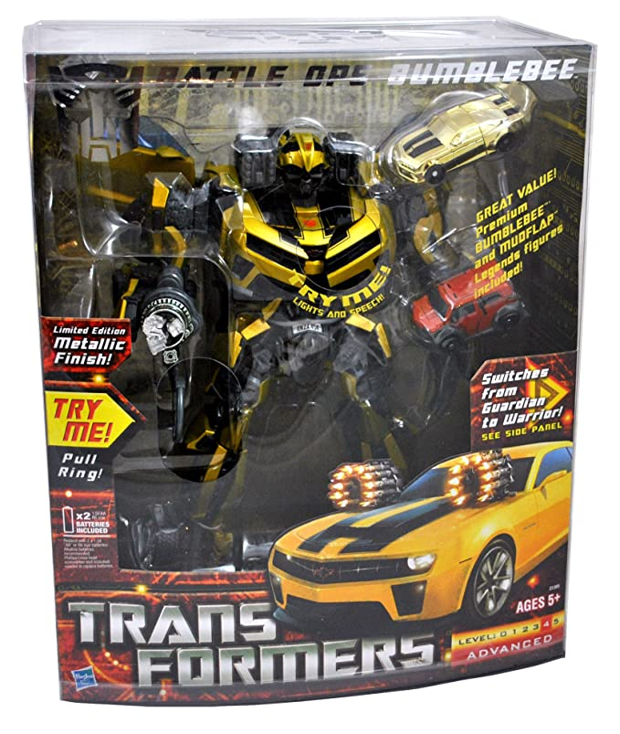 Transformers Limited Edition Metallic Gold Finish with Bonus Mudflap and Premium Bumblebee Figures Action & Toy Figures at amazon