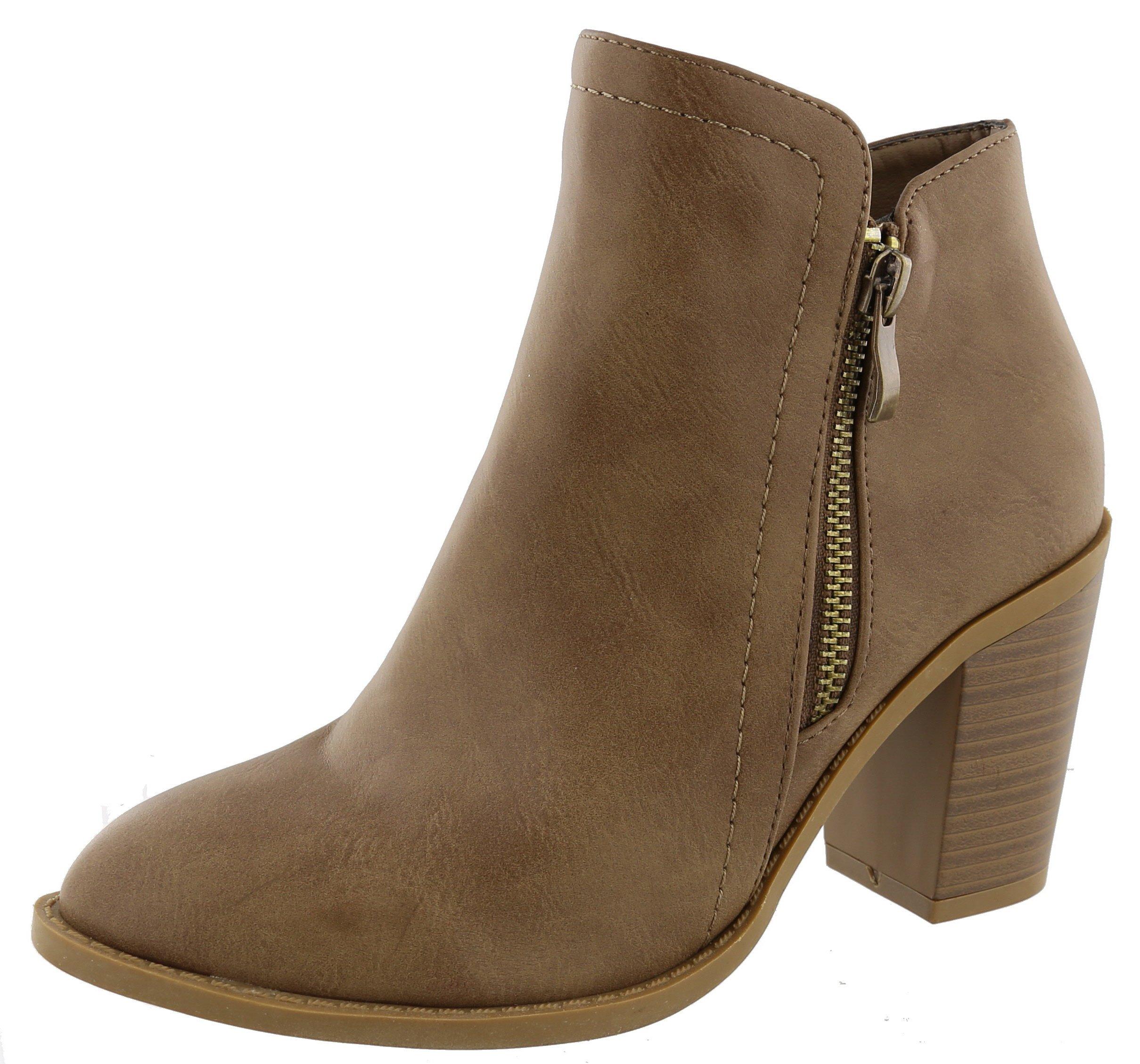 Top Moda Women's Closed Round Toe Zipper Chunky Stacked Block Heel Ankle Bootie (7.5 B(M) US, Khaki)
