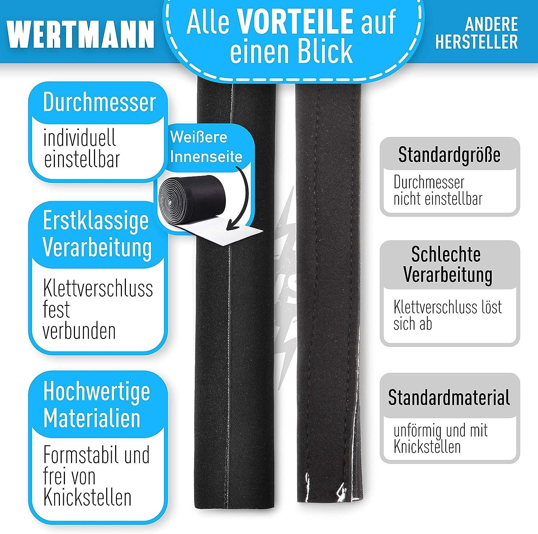 Wertmann Guaina per Cavi neoprene con diametro regolabile I Guaina Raccogli Cavi TV Elettrici per Scrivania I Guaina Copricavi TV bianco e nero 3m