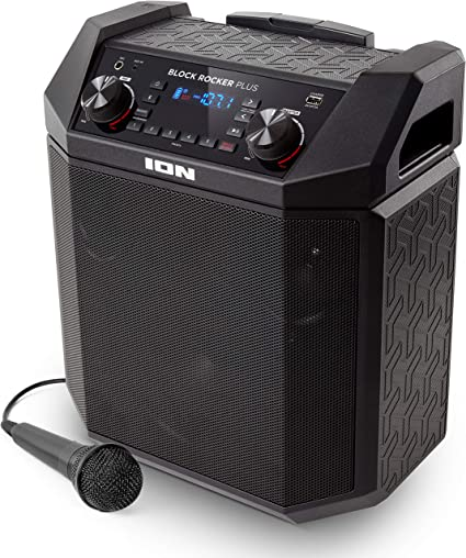 ION Audio Block Rocker Plus  8W Portable Speaker, Battery Powered with  Bluetooth, Microphone & Cable, AM/FM Radio, Wheels & Telescopic Handle and
