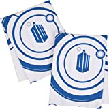 """Doctor Who Kitchen Towels 100% Cotton Set of 2 - Perfect Oven Door Hanging Hand Towels - Dr. Who TARDIS Logo and Gallifreyan Design - Size 18"""" x 24"""""""