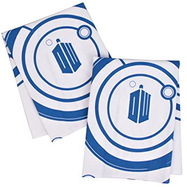 Doctor Who Kitchen Towels 100% Cotton Set of 2 - Perfect Oven Door Hanging Hand Towels - Dr. Who TARDIS Logo and Gallifreyan Design - Size 18  x 24