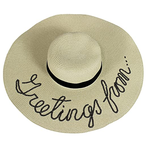 24ea801ffb1b6 A O International Sequined Greetings from Floppy Hat Beige at Amazon ...