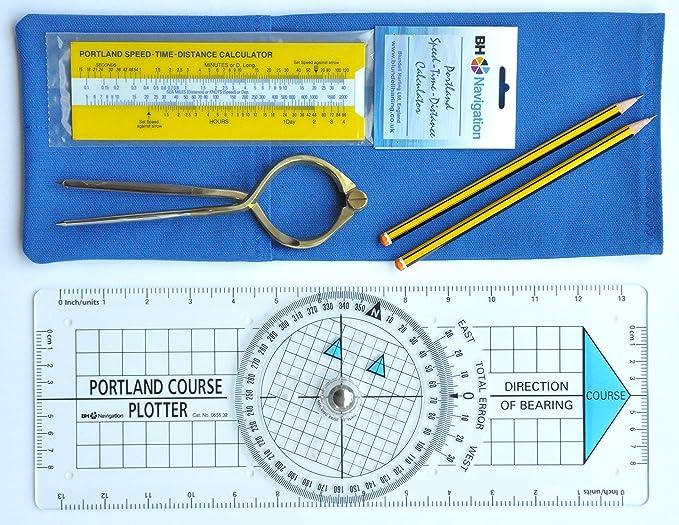 Portland Plotter, divisores, velocidad-tiempo-distancia navegación kit (azul) calculadora: Amazon.es: Hogar