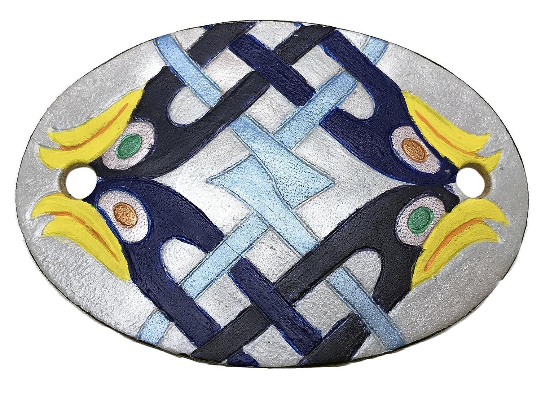 Hand-Tooled Leather Celtic Blue Bird Design Hair Stick Barrette