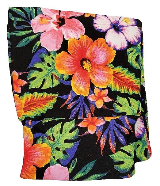 a9790e1b7b899 No Boundaries Tropical Floral Print Black Soot Super Soft Sueded High Waist  Capri Legging - Small