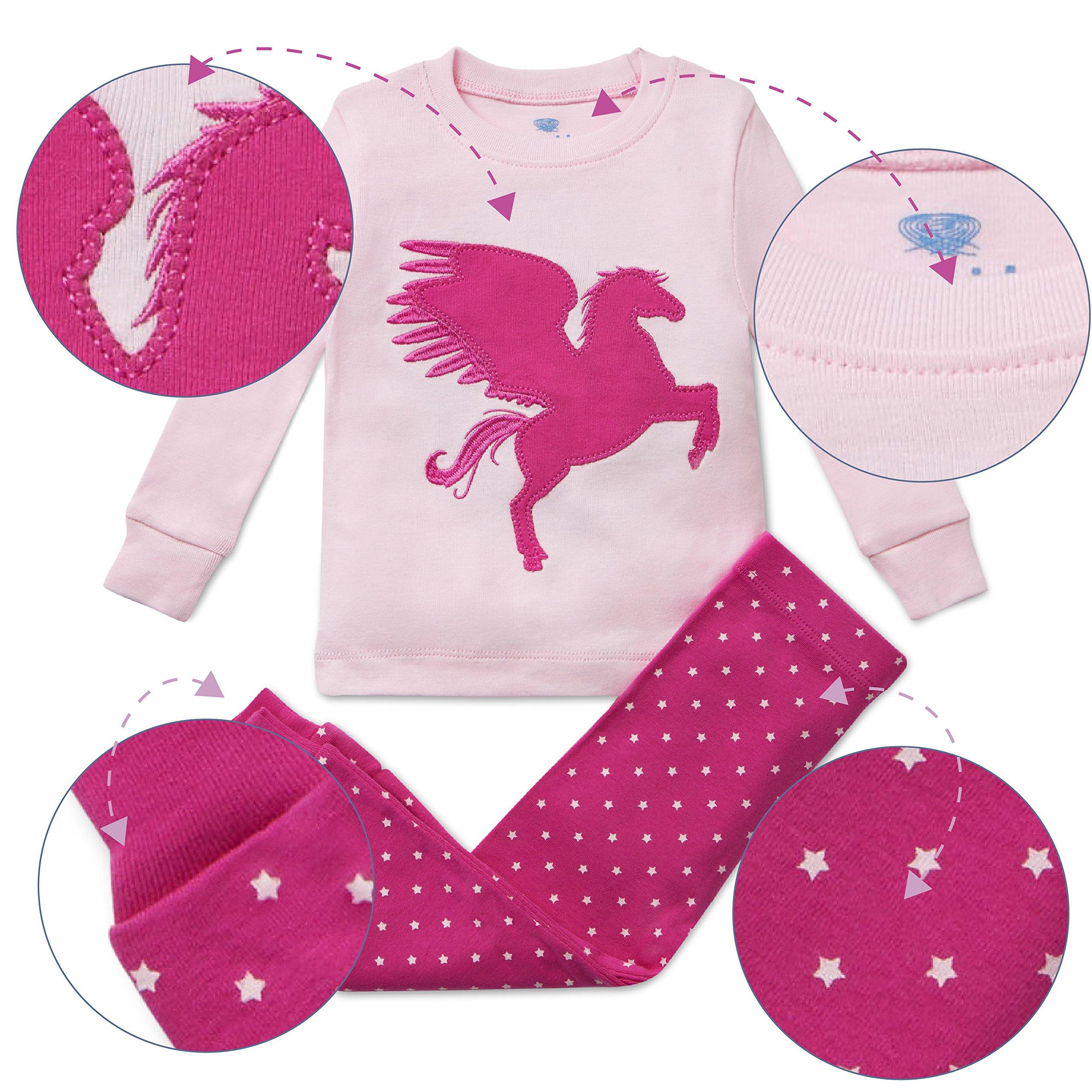 Girls Pajamas Unicorn Pegasus Lips 2 Piece Super Soft Cotton