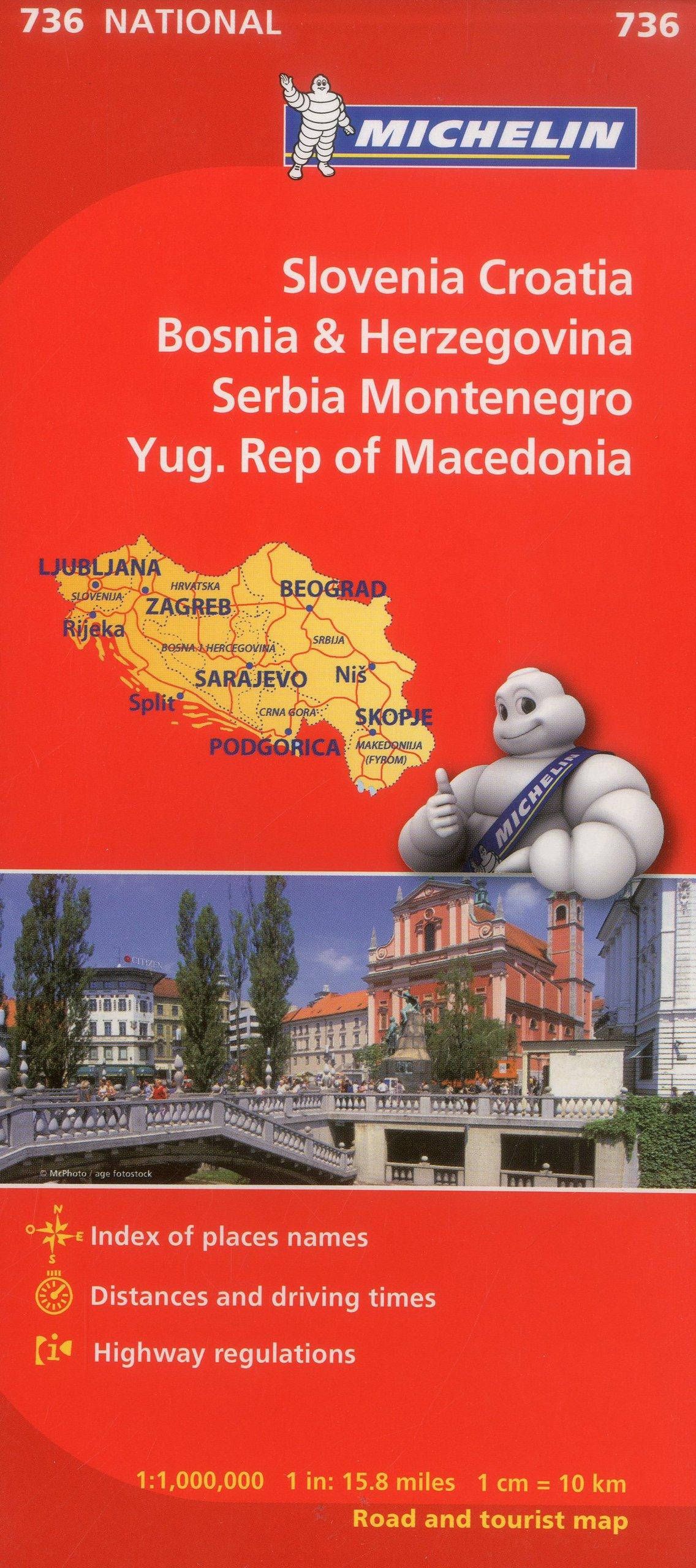 Michelin Slovenia Croatia Bosnia-Herzegovina Yugoslavia Former Yug. of Macedonia Map 736 (Maps/Country (Michelin)): Michelin: 9782067171947: Amazon.com: ...