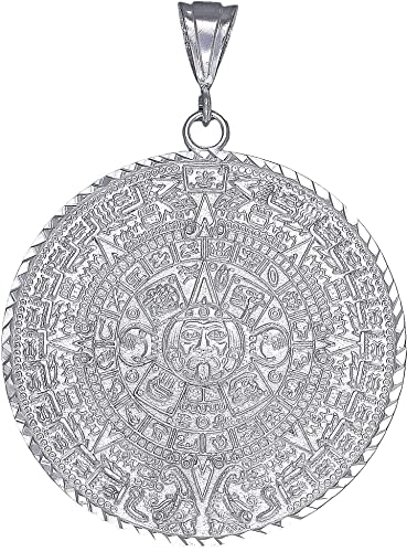 Ejewelryplus sterling silver aztec calendar mayan sun charm pendant ejewelryplus sterling silver aztec calendar mayan sun charm pendant necklace diamond cuts with 24quot aloadofball Image collections