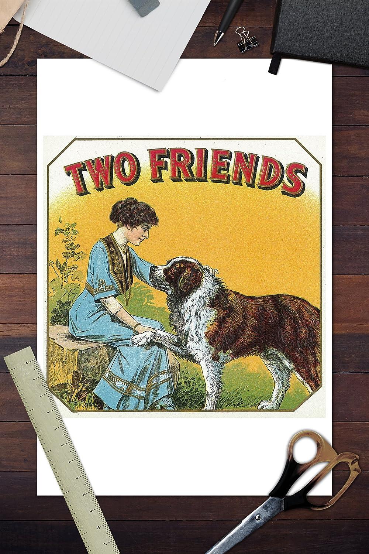 Amazon.com: Two Friends Brand Cigar Outer Box Label - St. Bernard ...