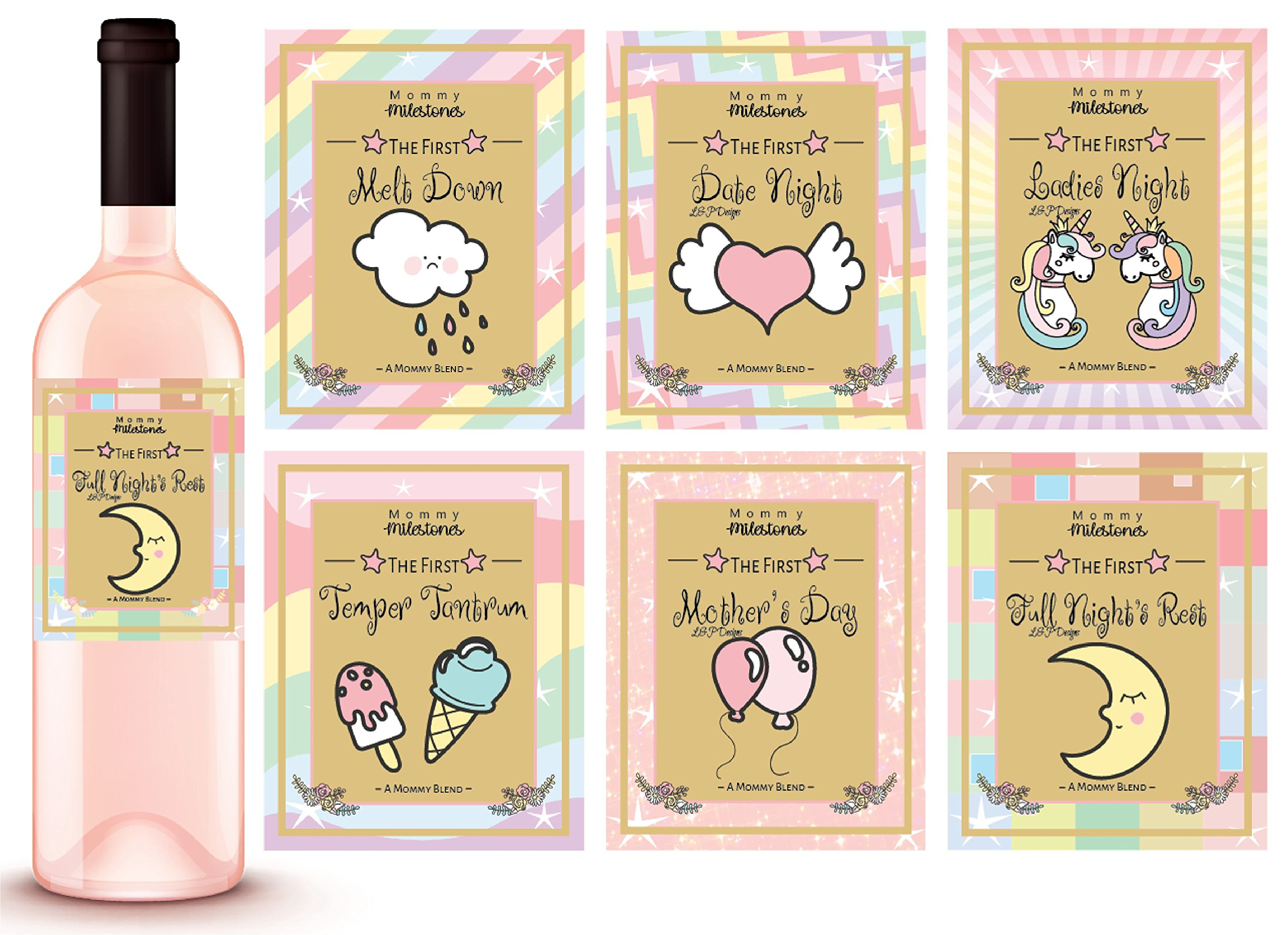 6 Unicorn Mommy Milestone Wine Labels or sticker Gifts, New Mom Gifts Ideas, Baby Shower Gift Idea, Mom To Be Gifts, Amazing Mom Gifts, Gift For New Mom