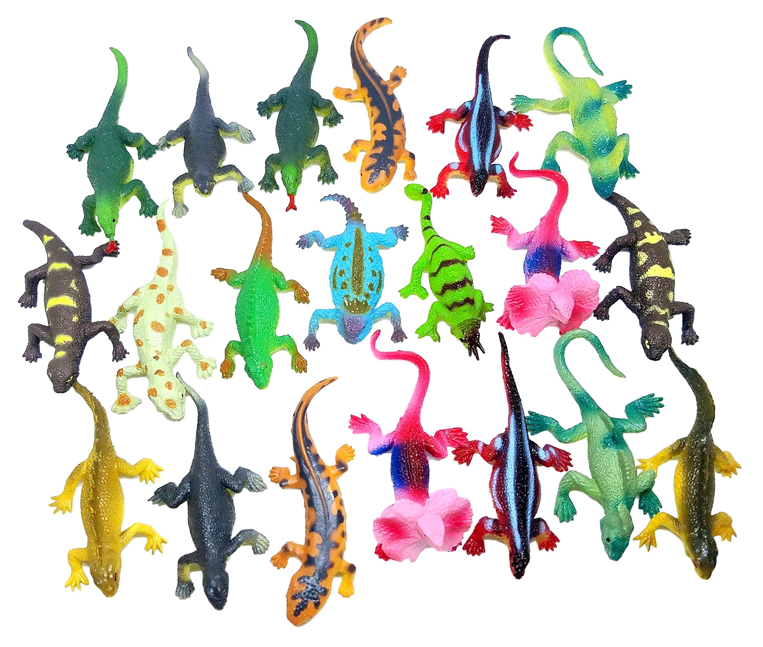 Izzy Designs Mini Lizard Action Figure Play Set, 24 ct (2 sets of 12)- Kids Small Party Favor, Piñata Filler, Educational Counting, & Sensory Toy, Assorted Colors