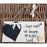 Little Miss Scrabbled - PERSONALISED HANDMADE WEDDING COUNTDOWN PLAQUE 'golden heart' SIGN CHALKBOARD ENGAGEMENT GIFT MR & MRS