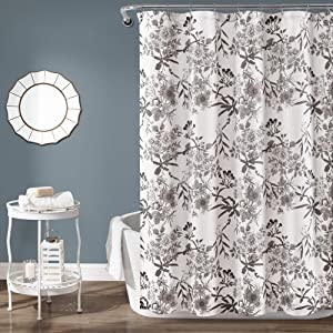 Lush Decor Gray Botanical Garden Fabric Shower Curtain, 72 Inches x 72 Inches