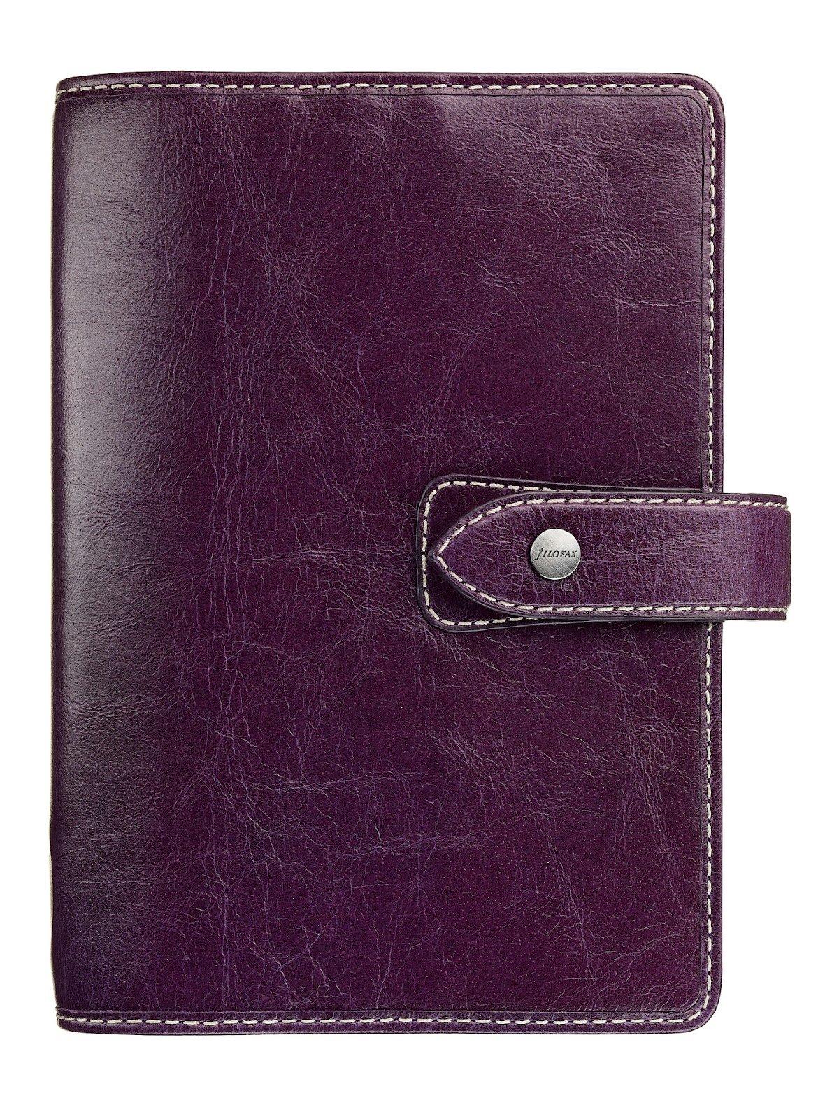Filofax Malden Personal Purple Vintage leather look organizer Agenda Calendar 025850