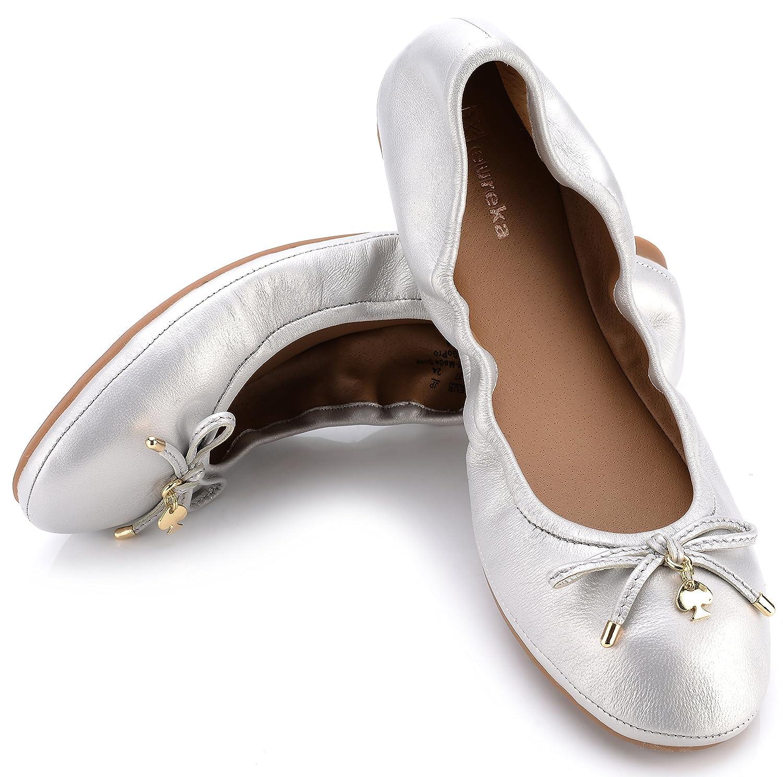 Eureka USA Women's Universe Leather Ballet Flat B074V2ZLWJ 8 B(M) US|504 Mat Silver
