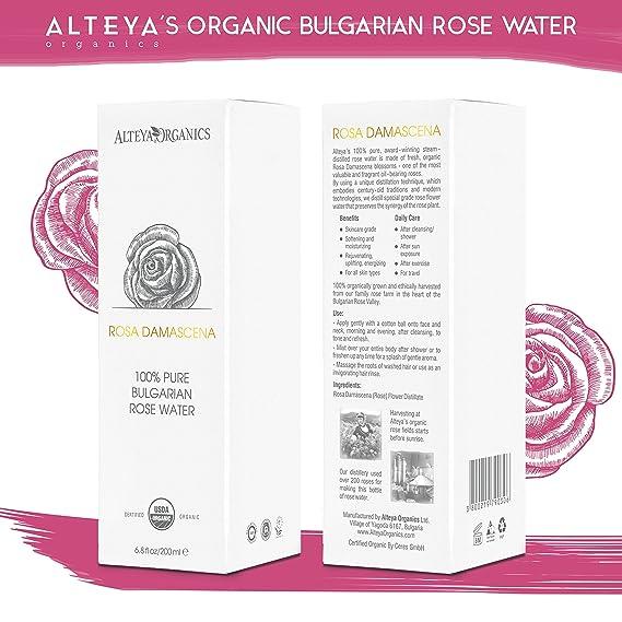 Alteya Organic Agua Floral de Rosa (Rosa Damascena) 200 ml - Spray (Vidrio) - 100% Puro Natural Bio con Certificado USDA, Vendido Directamente por el ...