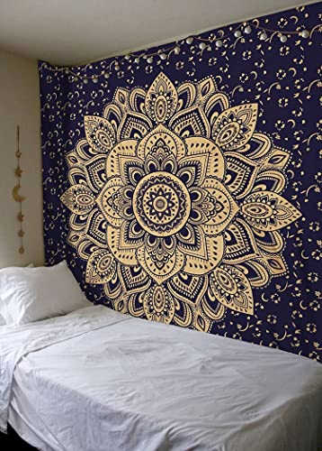 King Size New Launched Blue Gold Passion Ombre Mandala Tapestry By Madhu International, Boho Mandala Tapestry, Wall Hanging, Gypsy Tapestry, 90 X 108 inches