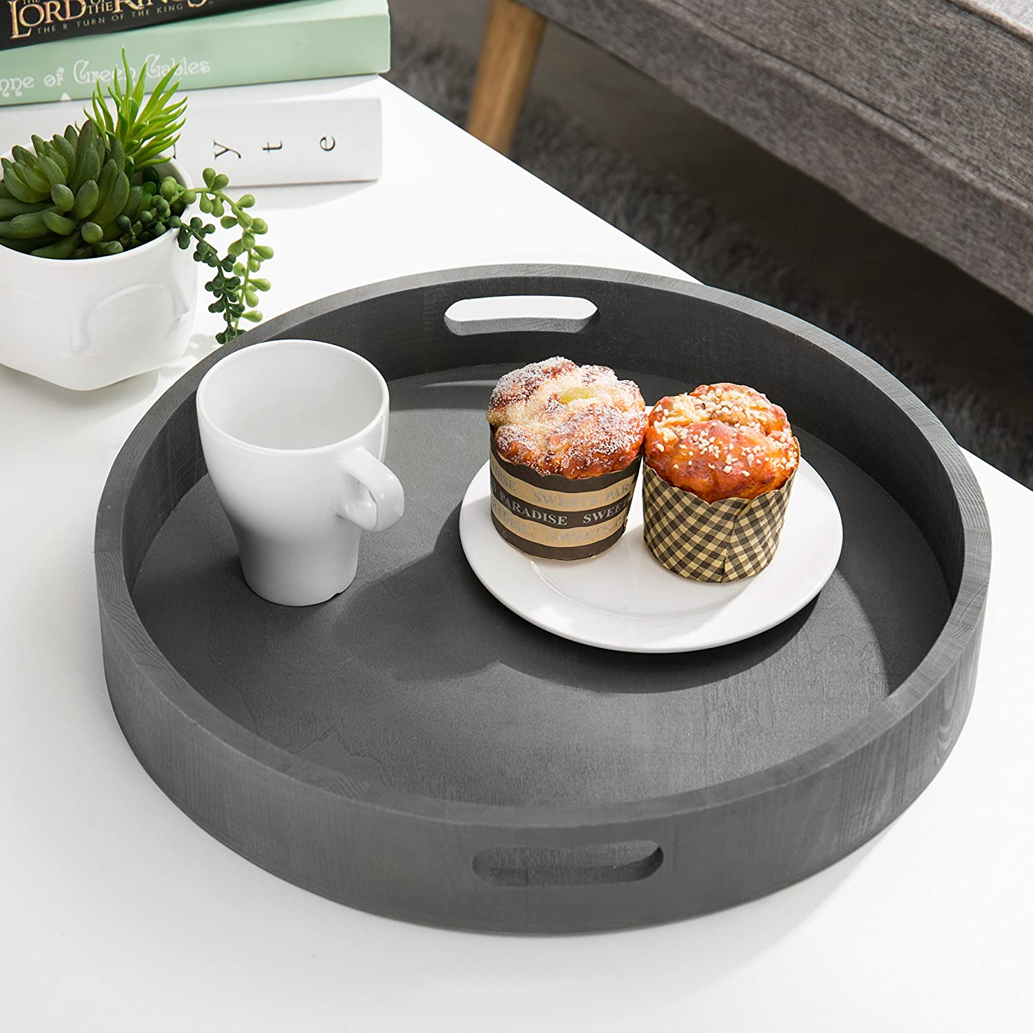 Set of 3 Gray Wood Nesting Serving Trays with Rounded Edges
