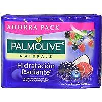 4 piezas de Jabón de Tocador Palmolive Naturals Frutos del Bosque y Agua de Coco en Barra 150 G