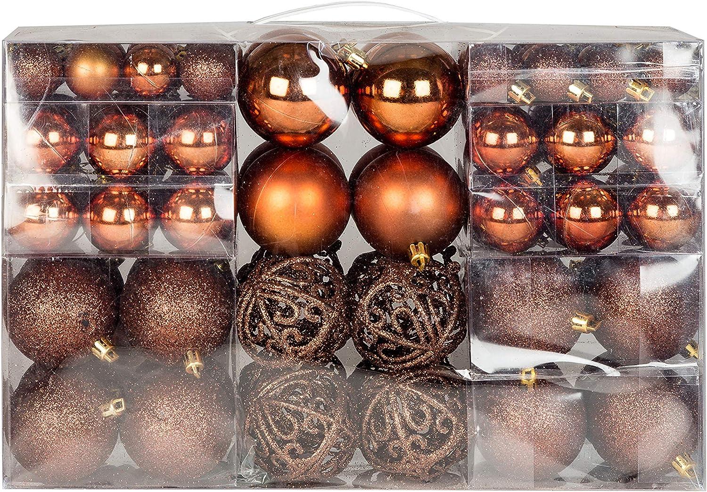 Design exclusif avec boules de no/ël de couleur marron-lot de 100