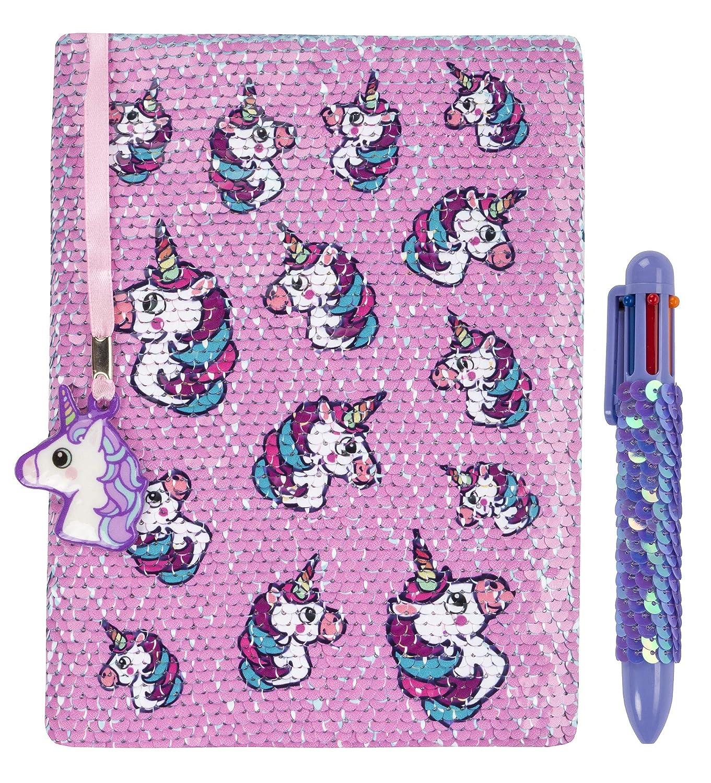 Agenda reversible con lentejuelas de FRINGOO, con bolígrafo multicolor para niñas y niños, tamaño A5, viene con marcapáginas y diseño de unicornio, 80 ...