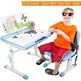 Kid's Desk Set - Adjustable Children's Table and Chair - Grows with Your Child! (Blue)