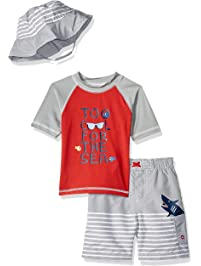 0938bc2f44 Wippette Toddler Boys  Short Sleeve Rashguard Set with Hat